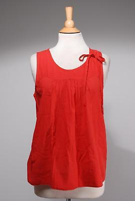 Marc By Marc Jacobs Red Cotton Pleated Bow Striped Top Size L
