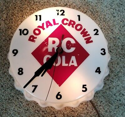Rare RC Cola Electric Bottle Cap Clock in Perfect Working Order