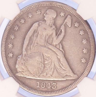 1843 Seated Liberty Dollar, Ngc F12, Clean, Sharp, Rare, Early Type, Detailed!