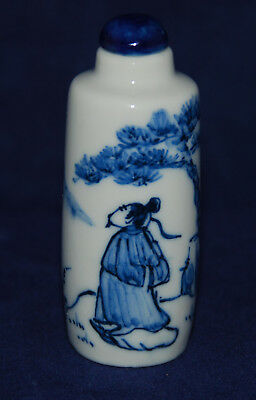 Vintage Chinese Porcelain Snuff Bottle Decorated Delft Style Walking Figure