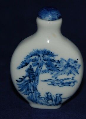 Vintage Chinese Porcelain Snuff Bottle Decorated Delft Style Figures & Trees