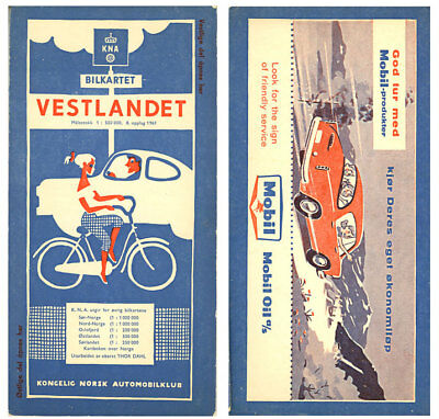 1961 Western Norway (Vestlandet) Road Map from Mobil