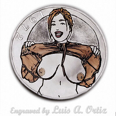 Who's Lookin? S1507 Ike Hobo Nickel Pinup Colored & Engraved by Luis A Ortiz