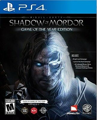 Playstation 4 Ps4 Game Middle Earth Shadow Of Mordor Game Of The Year Goty New