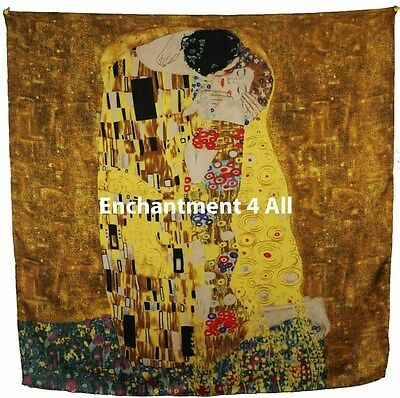 "Handmade 35""x35"" 100% Silk Art Scarf Wrap Handrolled Hems w/ Klimt's ""The Kiss"""
