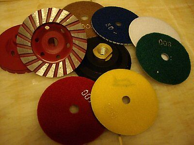 "5"" Polishing Pad 20 + Grinding Cup stone concrete granite travertine lippage"