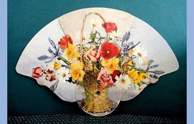 vintage ADVERTISING HAND FAN~mcminnville tn PARKS-BELK CO floral bouquet