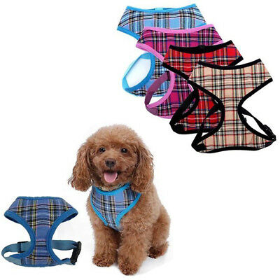 Small Pet Dog Puppy Harness Adjustable Control Mesh Plaid Walk Strap Vest Collar