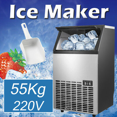 55kg Auto Commercial Ice Cube Maker Machines Stainless Steel Bar Restaurant 200W