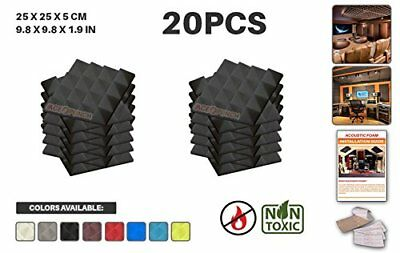 Ace Punch 20 Pack Pyramid Acoustic Foam Panel DIY Design Studio Soundproofing W