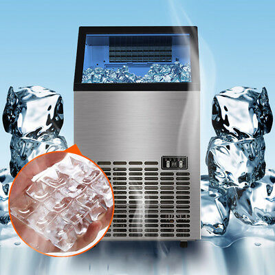 80KG/176Lbs Commercial Ice Cube Maker Machines Stainless Steel Bar Restaurant