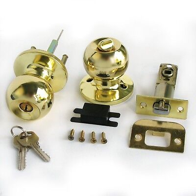 Stainless Gold Color Keyed Entry Rotation Round Door Knobs Handle Entranc... New