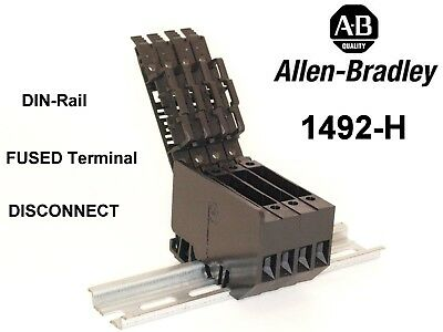 Allen-Bradley 1492-H fused DIN-Rail terminal block total of 4 with end plate