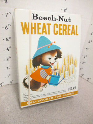 BEECH NUT 1966 Wheat cereal box baby food 8oz premium grooming set puppy garden