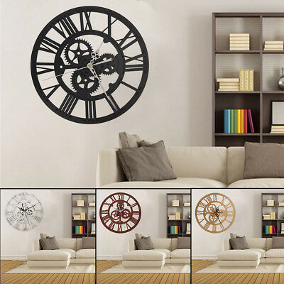 Outdoor Garden Large Roman Numerals Wall Clock Black Metal Silver Dials 30.5Cm