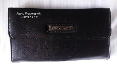 NEW Longaberger LARGE WALLET in BLACK faux leather- Billfold-Checkbook- RARE