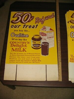 OVALTINE 1960s MILK OFFER 50 cents grocery store display sign COUNTRY'S DELIGHT