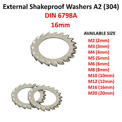 16mm M16 EXTERNAL TOOTH SERRATED LOCK WASHERS SHAKEPROOF A2 STAINLESS WASHER