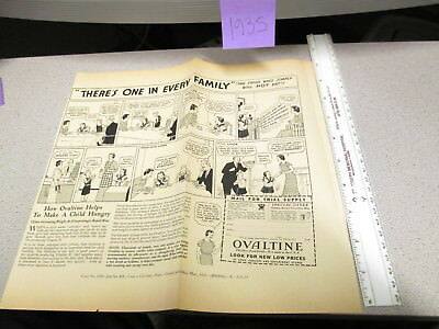 OVALTINE PROOF 1935 mag news ad blank back LITTLE ORPHAN ANNIE premium 1 FAMILY