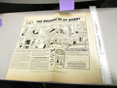 OVALTINE PROOF 1935 mag news ad blank back LITTLE ORPHAN ANNIE premium BOBBY