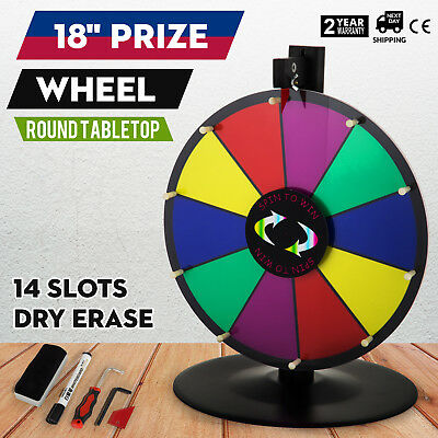"18"" Round Tabletop Color Prize Wheel Spinnig Game Dry Erase PVC Foam 14 Slots"
