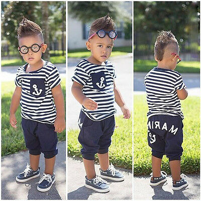Kids Toddlers Baby Boys Sailor Outfits Striped Anchor Tops +Half Pant Summer Set