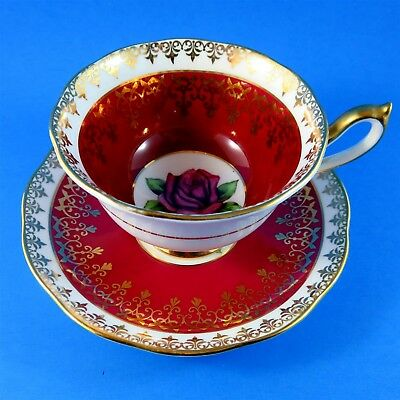 Deep Red Border Royal Albert Picardy Rose Tea Cup and Saucer Set