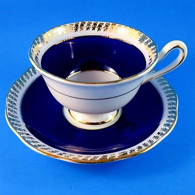 Cobalt Border With Gold Trim Royal Albert Tea Cup and Saucer Set