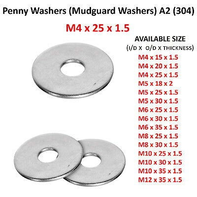 4mm M4 x 25mm STAINLESS STEEL A2 304 PENNY REPAIR WASHERS MUDGUARD WASHER