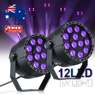 2X 12W Led UV Par Can Stage Black Light DJ Disco Wedding Party Wash Lighting AUS