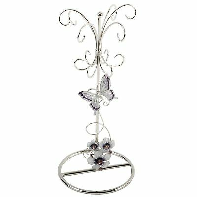 Glass Jewellery Holder with Purple Butterfly Flowers and Pink Crystals Juliana