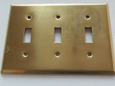 Vintage Solid Heavy Brass Decorative Polished Triple Light Switch Cover Plate
