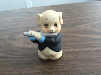 Pig with Flute that is a bell, ceramic, vintage 1982 CMSR imports inc