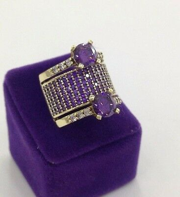 Turkish 925 Sterling Silver Handmade Jewelry Amethyst  Stones Ladie's Ring