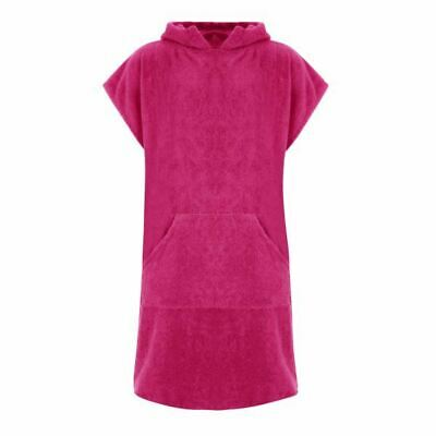 Ladies Pink Hooded Changing Robe 100% Cotton with pocket Poncho Towel Swim Surf