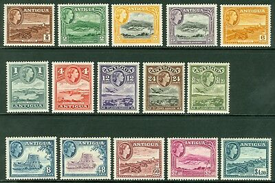 SG 120/134 Antigua 1953 set of 15 values. Pristine lightly mounted mint CAT £85