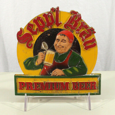 Sepp'l Brau Smiling Monk Advertising Beer Sign Star Union Products Peru Illinois