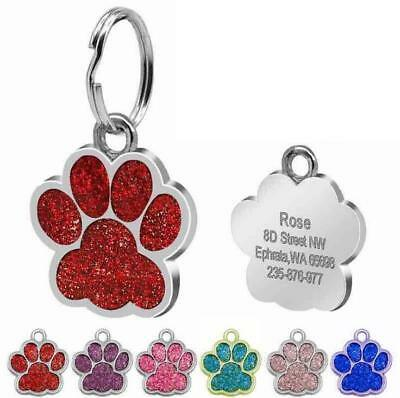 PAW Pet Dog Tags Glitter Personalised Cat Puppy ID Tag Collar Tags Engraved Free