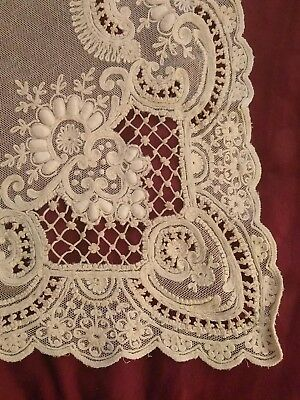 RARE ANTIQUE VTG FRENCH NET LACE Tambour panel New/old stock Wedding Ecru