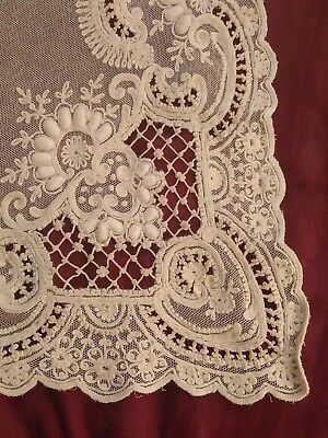 RARE Antique Vtg French Net Lace Tambour panel  Ecru New old stock Wedding Bride
