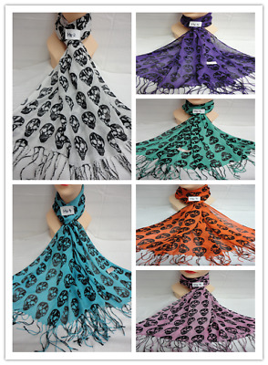 Wholesale 6Pcs $3.50 Each Light Weight Skull Design Scarf Wrap Stole All Season