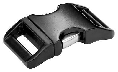 10 - 1 Inch Black Contoured Aluminum Side Release Buckles