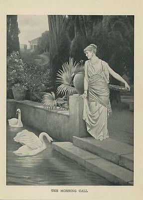 Antique Victorian Grecian Woman Pair Of Swans Topiary Garden Pool Flowers Print