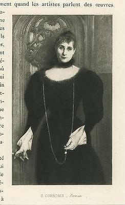 Antique Victorian Woman Black Dress Long Necklace Opening Door Miniature Print