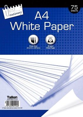 75 x A4 80gsm Bright White Office School Home Printing Copy Paper -WH2-R2C-469