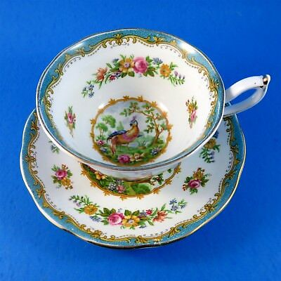 Teal Green Royal Albert Chelsea Bird Tea Cup and Saucer Set