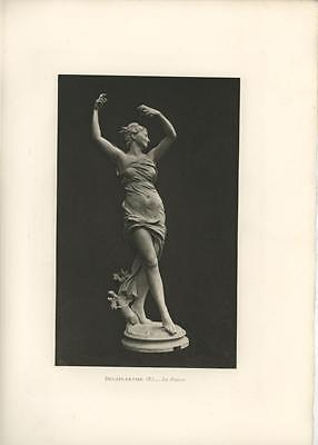 Antique Art Nouveau Woman Dancing Black & White Sculpture Victorian Art Print