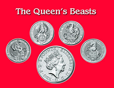 The Queen's Beasts 2oz Silver Coins Lion, Griffin, Dragon, Unicorn, 1st 4 in Set