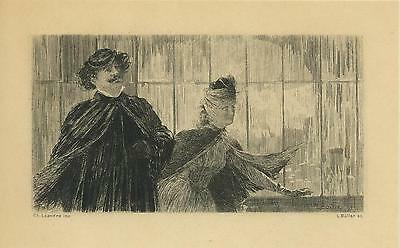 Antique Victorian Man Black Cape Hat Mustache Woman Wind Window Miniature Print