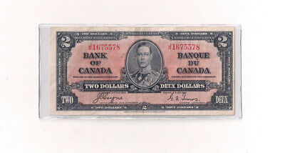 1937 Canada $2 Two Dollars Bank Note Bill VF Coyne Towers C19